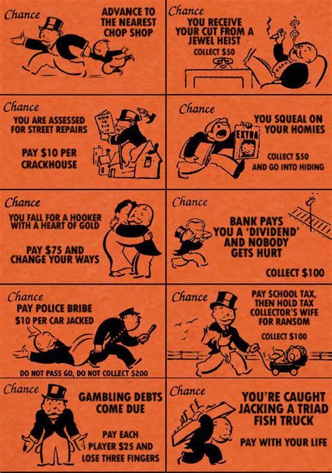 chance cards monopoly template design context chance cards are traditionally orange