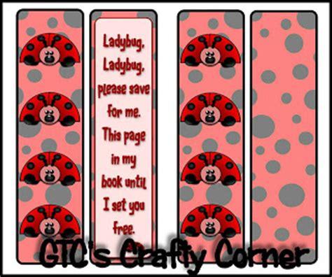 printable ladybug bookmarks gtc s crafty corner ladybug bookmark freebie