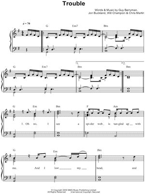 coldplay trouble lyrics coldplay quot trouble quot sheet music easy piano piano solo