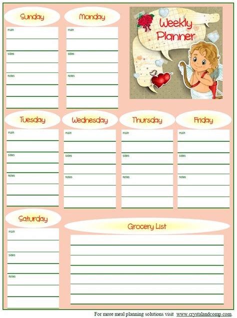 printable toddler meal planner free printable meal planner february