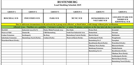 Load Shedding Schedule by Load Shedding Schedule For Rustenburg