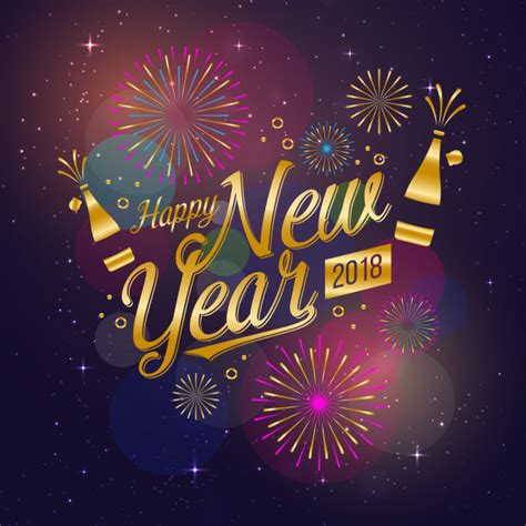 new year festival modern happy new year 2018 celebration card vector free