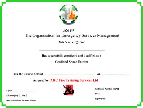 Arc Fire Training Services Confined Space Training Extinguisher Training Fire Marshall Confined Space Certificate Template
