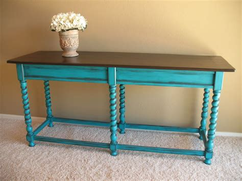 teal wood coffee table teal sofa table teal console table with rich stain top by