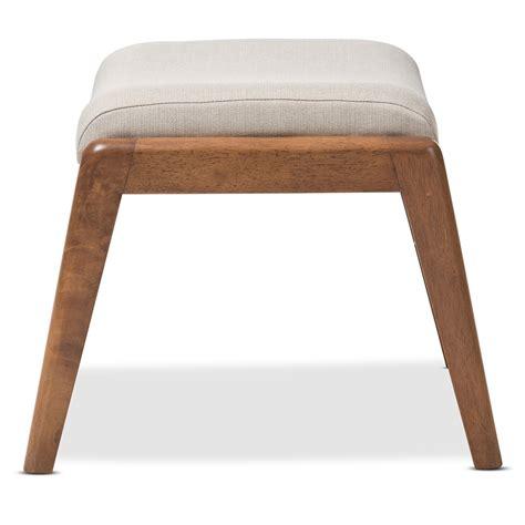 ottoman upholstery baxton studio roxy mid century modern walnut wood