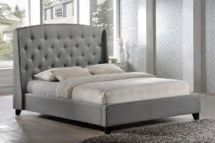 laguna tufted upholstered platform bed in grey fabric