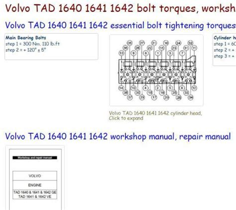 Volvo Engine Specs Bolt Torques Manuals