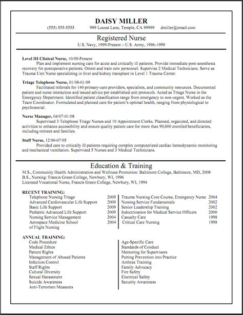 Nursing Resume by Triage Resume Sle Http Www Resumecareer Info