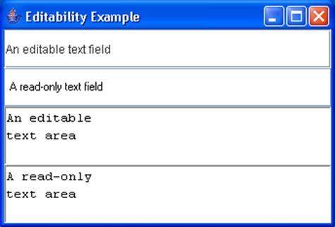 java swing text field editabilityexle textfield 171 swing jfc 171 java
