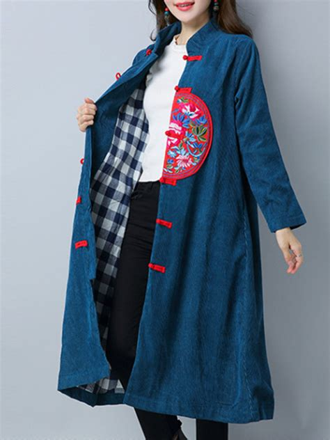 Corduroy Button Coat folk style embroidered sleeve buttons corduroy