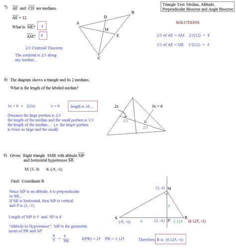 Point Of Concurrency Worksheet by Math Plane Triangle Parts Median Altitude Bisectors