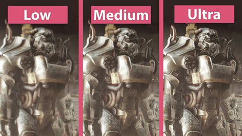 ultra low graphics vs fallout 4 fallout 4 pc low vs medium vs high vs ultra detailed