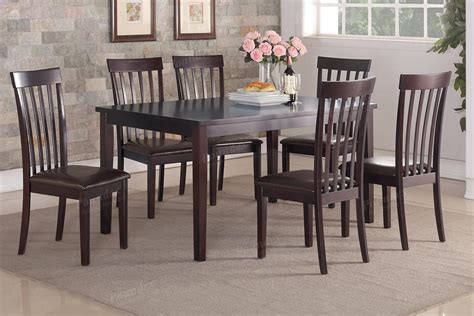 brown dining table and chairs poundex f2270 brown wood dining table and chair set