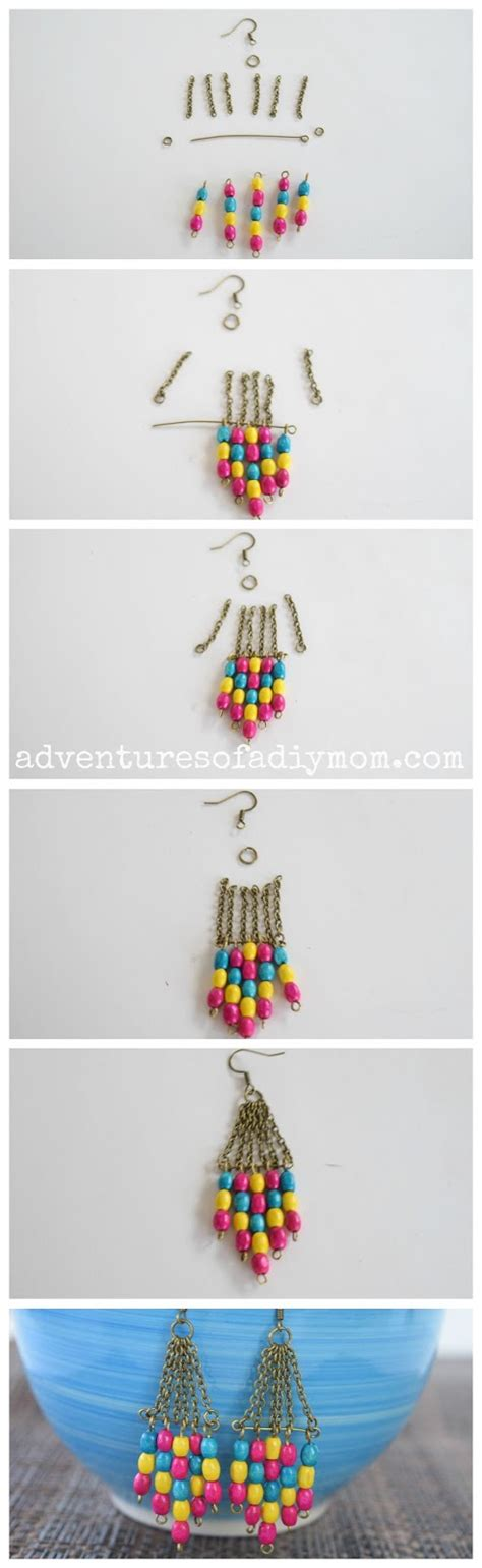 Bead Dangle Earrings wooden bead dangle earrings adventures of a diy