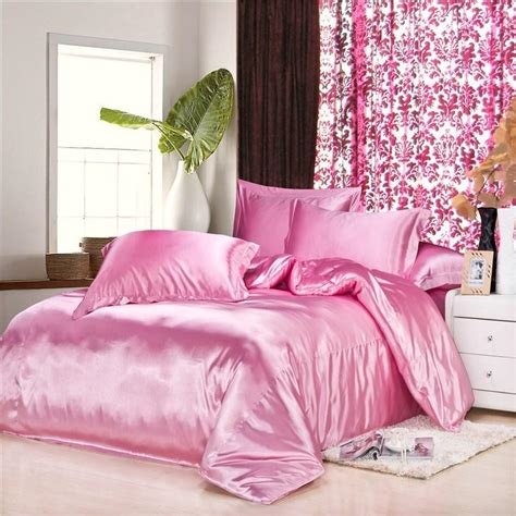 Pink Satin Bedding Sets Wholesale Luxury Pink Silk Satin Design Bedding Sets 16 Solid Color King