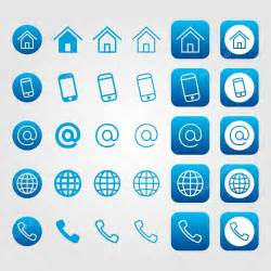business card phone icon business card icon set blue line icons vector