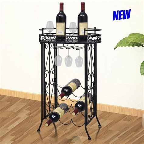 metal wine rack table metal wine rack display table glass holder hooks 9 bottle