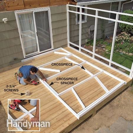 how to build a frame for a porch swing screen porch construction the family handyman