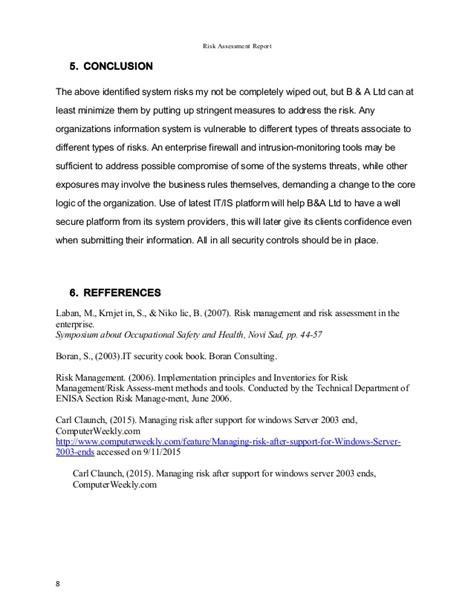 risk assessment report risk assessment report
