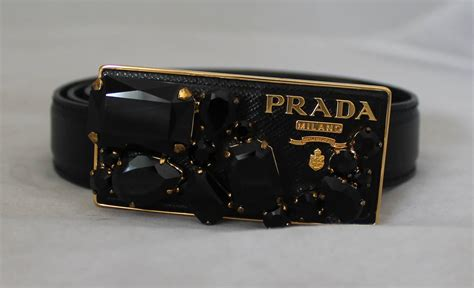 Prada Belt Item Number 2c4107 1 Size 90 prada black saffiano leather belt with gold rhinestone buckle at 1stdibs