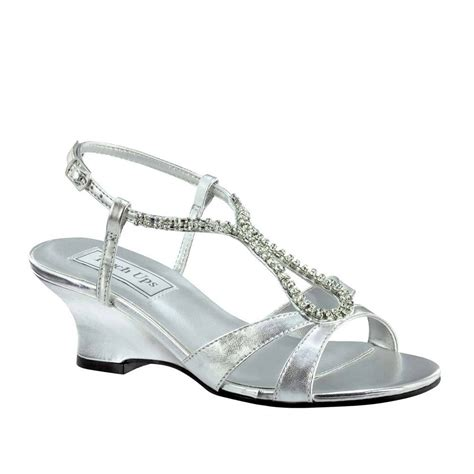 silver low wedge sandals s silver rhinestone keyhole low heel prom