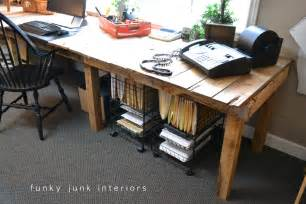 Diy Office Desk Pallet Farm Table Desk Part 3 The Reveal Funky Junk Interiorsfunky Junk Interiors