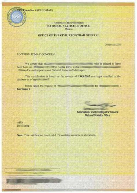 Philippine Marriage Records Wedding In Denmark Certificate Of No Marriage Record Philippines