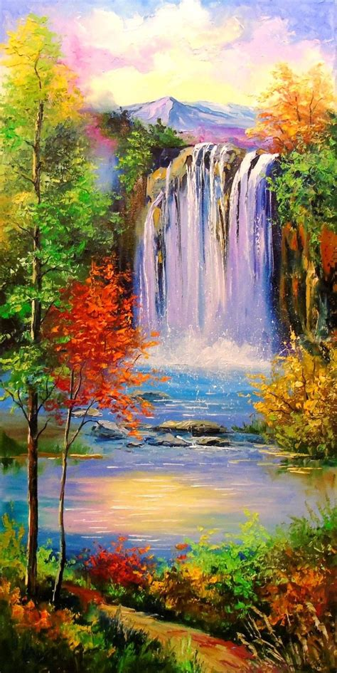 Nature Paintings by Mountain Waterfal Paintings By Olha Darchuk Artist