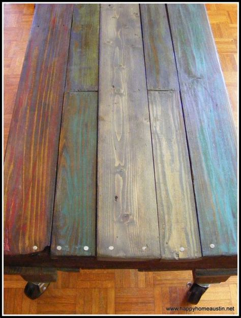 How To Stain Wood Table by Custom Multi Color Reclaimed Pallet Wood Side Table