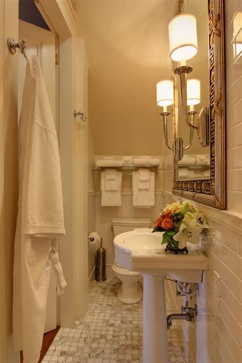 narrow powder room feel inviting