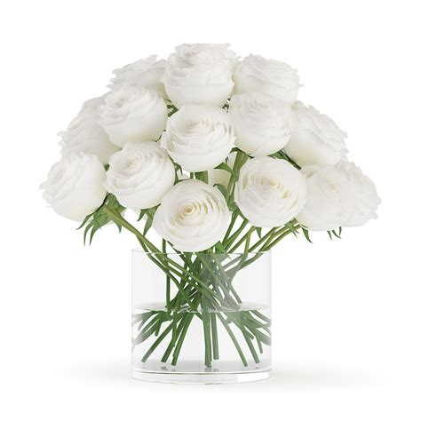 Glass Floral Vases White Roses In Glass Vasecgaxis 3d Models