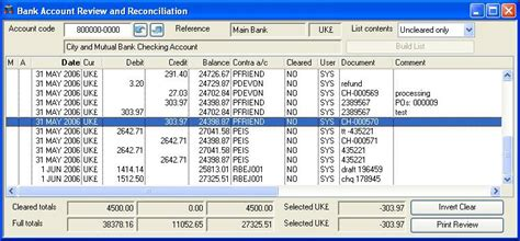 gl bank bank account review and reconciliation