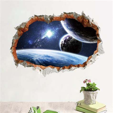 outer space planet wall sticker  effect  wall
