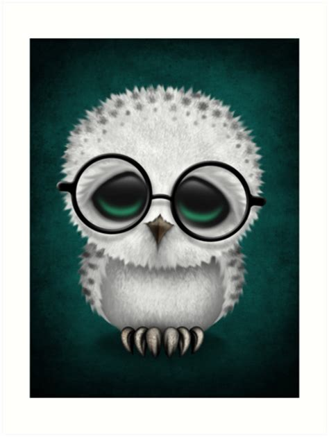 Owl Wall Stickers quot cute baby snowy owl wearing glasses on teal blue quot art