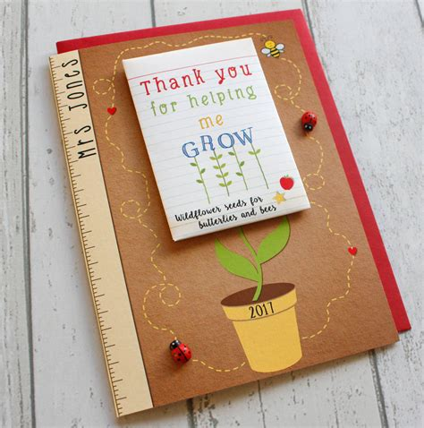 Card And Gift Company - thank you for helping me grow card and seed packet gift by the little paper company