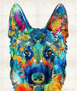 colorful german shepherd dog art by sharon cummings