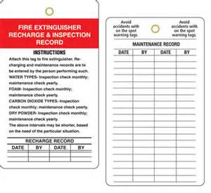 Extinguisher Inspection Tag Template by Extinguisher Inspection Record Tags