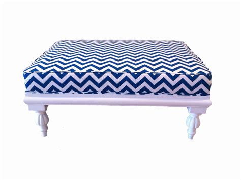 white and blue ottoman blue and white chevron ottoman for blue and