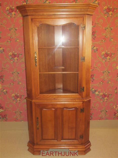 tell city corner china cabinet lighted solid rock