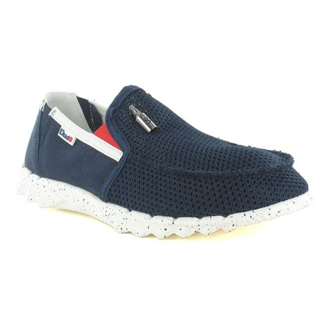 hey dude farty mesh mens canvas slip on shoes navy blue