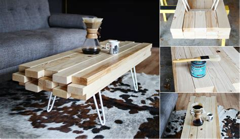 diy wooden coffee table with metal hairpin legs