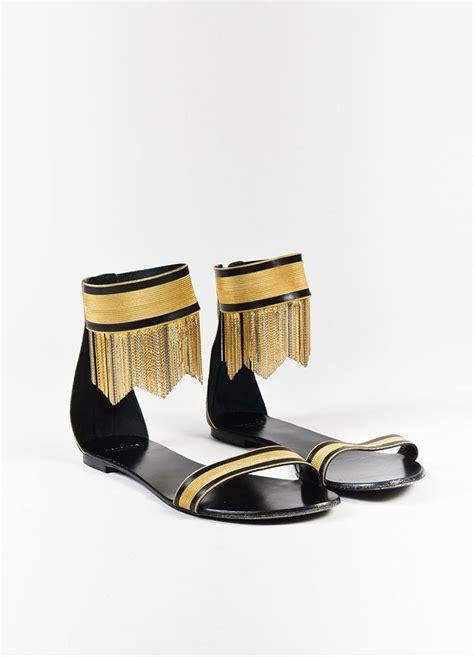 black and gold flat shoes versace black and gold fringe ankle flat sandals