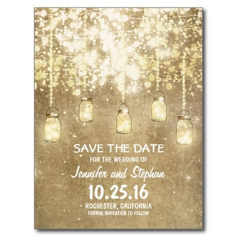wedding save the date text exles string lights jars save the date postcard