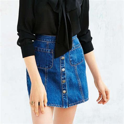 rank style bdg denim button front skirt