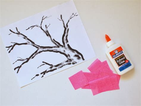 How To Make A Cherry Blossom Tree Out Of Paper - cherry blossom tissue paper flower craft tree printable
