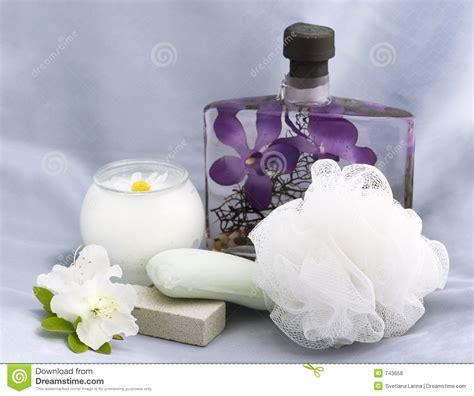 bathroom essentials bath essentials with chamomile candle royalty free stock