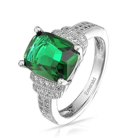 rectangle cushion cut emerald color cz engagement ring