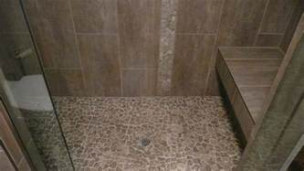large format porcelain tile with stone mosaic floor and ac