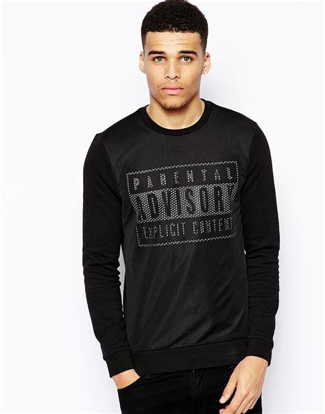 Hoodie Parental Advisory High Quality Hoodie 4 lyst asos sweatshirt with parental advisory print and mesh in black for