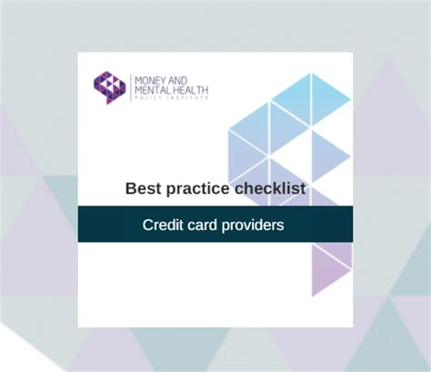 Credit Card Form Best Practices Best Practice Checklist Credit Card Providers Money And Mental Health Policy Institute